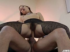 She's got disgusting pussy hole covered with beard. Hajni is hammered bad from behind and later she rides the hard dick being buttplugged while fisting her cunt actively.
