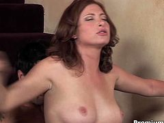 She appears on screen wearing golden color glittering dress that barely covers her amenities. She seduces handsome guy and then fucks him furiously on stairs riding his dick and later getting banged bad from behind.
