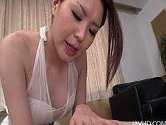 Lewd Japanese geisha China Mimura gonna provide a dude with a rimjob