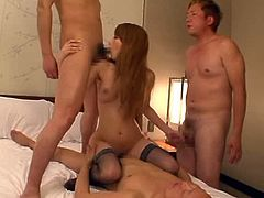 Horny Asian sensation Claire Hasumi gets naked in a threesome