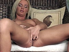 See this hot video where a horny blonde goes solo as she masturbates with a dildo for all of her horny viewers.