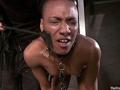 Skinny Black girl gets tied up and toyed in her ass. After that the guy in mask licks her pussy and fucks this girl from behind.