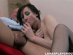 British brunette is ready to spend every single day pleasing a dick. Today lucky bald headed dude wins a chance to eat her juicy pussy. This tall and pale slut doesn't hesitate to repay with a stout blowjob for sperm right at home.