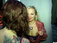 Spoiled white hussies with naked tits pull up their mini skirts in order to receive tongue fuck from sex greedy lesbians in insane group sex video by Tainster.
