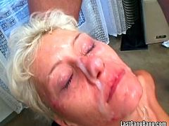Take a look at this hardcore scene where a slutty blonde has a great time sucking and fucking big cocks in a gangbang clip in front of the camera.
