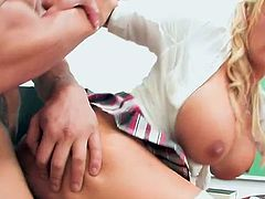 Schoolgirl Shyla receives penetrated by teacher