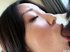 She is brunette Japanese chick who is new to the industry. However, she has got already a strong cock sucking skill. Check her out.