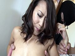 Bunch of masked guys fondle Yayoi Yanagida's hairy pussy with high powered vibrator. Brunette bitch gets horny and sucks lots on tiny dicks.