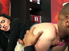Young black haired slut Anabell in high heels and jeans gets her tight firm ass fucked by black bull Kid Jamaica with meaty monster cock in doggy style position.