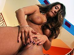 She is hell seductive brunette woman having appetizing tits and tempting body curves. She bends over showing off her pussy close-up to the cam. Watch her fingering herself in a tasty porn movie.