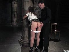 Kinky brown-haired bitch gets tied up and blindfolded. Later on she sucks a cock and gets fucked on a bed.