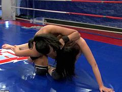 Young long haired brunette babes Lexy Little and Lioness with natural boobs and bouncing asses get filmed in close up by dirty referee during arousing chick fight in the ring