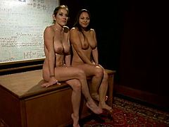 Poor brunette Latina in school uniform gets tied up and spanked by a blonde. Later on she gest mumuified and toyed with a vibrator.