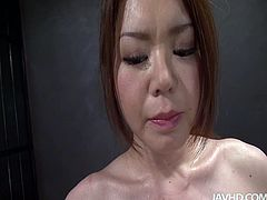 Blindfolded buxom nympho China Mimura gets her pussy fingered by horny dude