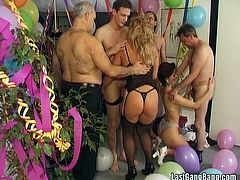 Watch these ladies having an amazing time with big fat cocks as they end up having an orgy after a birthday party is celebrated.