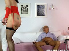 British brunette in red lingerie looks gorgeous. This spoiled hooker with pale ass wanna nothing more but a tough anal fuck from behind. Gosh, kinky mature bitch is surely worth checking out in Jim Slip sex clip if you're seeking for dozen of delight tonight.