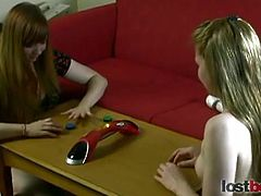Two big titted teens sammy and julie want to try something different. They play a stripping game. Who will win and get her pussy toyed?