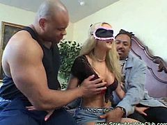 His wife has always been a busty whore! Watch her getting fucked hard in her tight pussy while sucking a big black shaft in front of her husband!