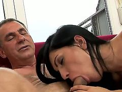 Skinny and very hot girlfriend named Honey Demon sucks her boyfriends dick