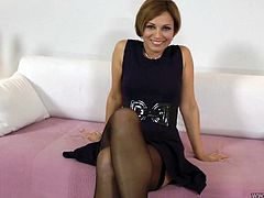 Sylvia is wearing romantic black dress and tempting black lingerie. She looks classy and stylish. So watch this MILF hottie playing with her punani on cam.