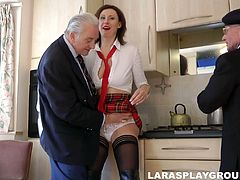 Spoiled and hot British gal Lara Latex gonna tease two dicks at home