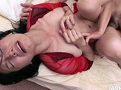 Passionate Japanese harlow moans with pleasure and pain while getting her hairy cunt banged in missionary and sideways pose. Later she gets on a sturdy penis for a ride in cowgirl style.