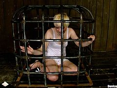 This pain lover enjoys being tortured. Honey gets tied up and some huge things are inserted in her twat. That must be painful.
