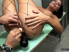 No one knows why she got arrested, but she doesn't mind, as she is having a lot of fun in the prison cell. Hottie gets fucked and cummed in her mouth.
