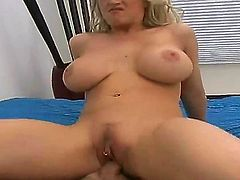 Busty blonde beauty Candy Manson enjoys huge pleasure with naughty hunk Hunter