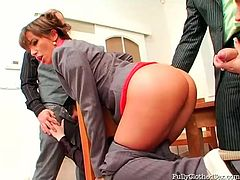 The office fills with loud moans of delight. The working day is over and only brunette clerks with nice butts are still busy with sucking two strong dicks for cum. Slim nymphos desire to be fucked right on the tables for reaching multiple orgasm in a flash. If you wanna be pleased, this Tainster group sex clip is surely for you.