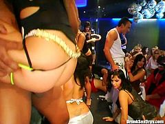 Booty hot gals enjoy sucking strong dicks for tasty cum in the night club
