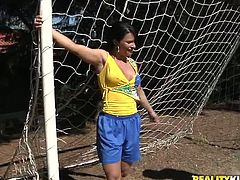 Sex hungry black daddy plays football with a filthy Latin hussy with oversized cellulite ass and a pair of perky tits, which she shows with pleasure.