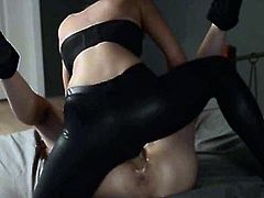 Super secret movie shot week ago of Two cheerleaders in latex fuck with strap on