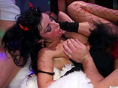 Fun celebration of Halloween ended up with a wild group sex orgy where lewd hoes in fun costumes and stockings get pounded in missionary styles and give head to aroused penises of insatiable dudes.