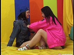 Playful lesbians Jane and Tanya finger fuck each other's snatches