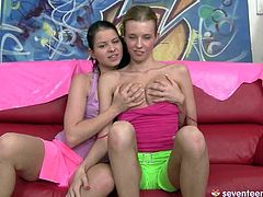 Two mesmerizing Russian teens: blond and brunette aroused each other by mauling cuddly big tits before spoiled blondie gets to a shaved cunt of another cutie for tongue fuck.