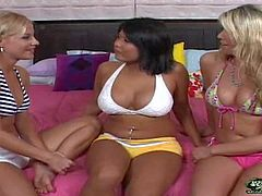 Naughty hot ass blonde bombshell Nikki with big hooters and great hunger for pussy gets pleasures to orgasm in mind blowing lesbian threesome with her roommate and nasty asian slut