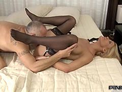This divine blondie is one of those girls, who love swallowing cum. So babe gets fucked by her man and sucks everything out of his cock.