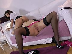 Welcome to enjoy really hot and voracious lesbos in Jim Slip sex clip. Two brunettes in stockings and short skirts are great pros in spooning, tickling and eating wet juicy pussies. Gosh, theses British whores will surely make you jizz in a flash.