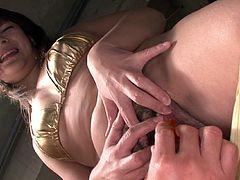 Hot bodied Japanese skank Kurara Iijima gets her succulent pussy fingered hard. Then dude shoves vibro egg up her juicy pussy.