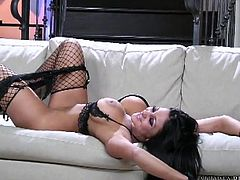 Busty brunette likes teasing before masturbating her wet and tight vag