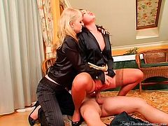 Spoiled and too voracious chicks forget about consultation as soon as they the dick boner. Wondrous nymphos in stockings and heels wanna suck, ride and be fucked tough one after another. Gosh, this hot foursome with blond and black haired sluts is surely worth your attention in Tainster sex clip.