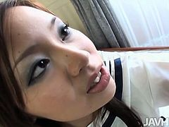 Horny dude pinkish round perky tits of tasty looking Japanese student before she stands on her knees to oral fuck his sturdy cock in sultry sex video by Jav HD.