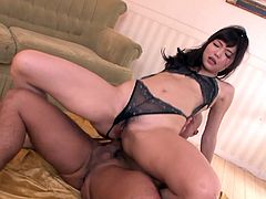Amazing Japanese brunette in sexy black lingerie was born both to ride and suck hot dicks. Slim and rather pale chick with sweet tits has a strong desire to be banged from behind. But the true delight for this bitch is surely a tough drilling of her tight asshole.