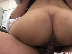 Gorgeous schoolgirl is having a passionate sex with her guidance councellor. Babe blows his fat cock and gets it deep in her wet cunt!