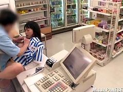 Japanese sweetie gets her pussy fingered and fucked in a shop