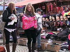 Two amateur besties go shopping to the flee market before they get home and change into pajamas to play around in bed in sultry sex video by Club Seventeen.