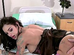 Angelina Valentine with gigantic breasts and her hard dicked fuck buddy Criss Strokes have a lot of sexual energy to spend