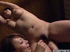 This is a very sensual fetish lesbian sex. Minami Ayase gets suspended by her girlfriend and she pleases her cunt with a vibrator made in Japan!