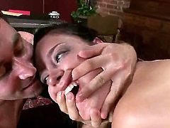 Sinful bitch Kimberly Kane is getting fucked so hard by two hugecocked perverted men. They are stuffing throat, cunt and backdoor hole of the slut by their fat dongs.